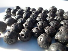 Pack of 10 black lava beads 8mm diameter with 1.5mm hole