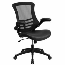 Flash Furniture Mid Back Mesh Leather Office Chair in Black