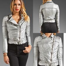 Muubaa Minsk Suede SILVER Quilted Leather Motorcycle Jacket US 4 $620 SOLD OUT