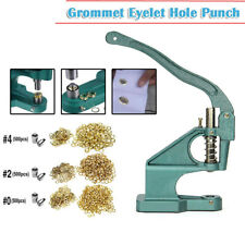 Grommet Machine 3 Die(#0 #2 #4)&1500 Grommets Eyelet Hand Press Tool Banner US