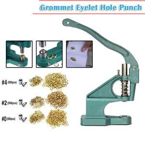 Grommet Machine 3 Die(#0 #2 #4)&1500 Grommets Eyelet Hand Press Tool Banner US