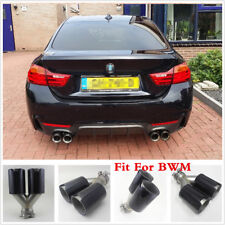 Glossy Carbon Fiber SUV Exhaust Pipe Muffler Dual End Tips Fit For Car 65mm-91mm