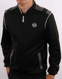 Sergio Tacchini Men's Sammy Track Top Black/Charcoal - Retro Tracksuit Jacket