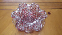 Hand Made Murano Glass Trinket Dish Candy Dish COnfetti Brown White CLear