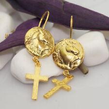 925 Sterling Silver Horse Coin Earrings Roman Art Handmade Fine Jewelry By Omer