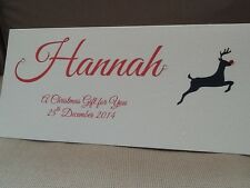 1 x Handmade Personalised Christmas Money Gift Voucher Wallet Card Reindeer