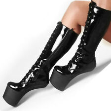 Women High Platform Lace Up Heelless Mid Calf Boot NightClub Patent Leather Shoe