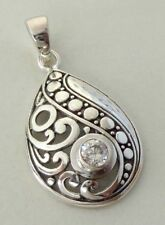 Zircon Solid Silver, 925 Balinese Filigree Design Pendant 38587