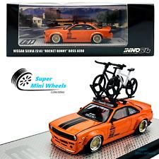 INNO64 1:64 Nissan Silvia S14 Rocket Bunny Boss Aero (Orange) with Two Bicycles