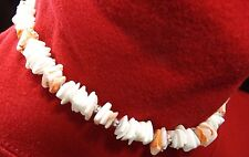 """VINTAGE WHITE AND PINK WITH SILVER BEADS CHUNKY  PUKA SHELL CHOKER 16"""" NECKLACE"""