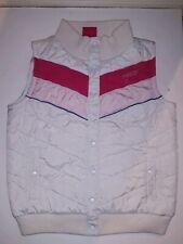 Retro 80's Ladies White + pink body warmer / Gilet - size 12