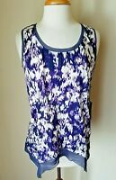 Simply Vera Wang Purple Floral Crinkle Sleeveless Scoop Neck Blouse Top Size M