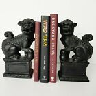 Vintage Cast Iron Foo Dog Dragon Lion Bookends Black HEAVY Very Nice Chinese