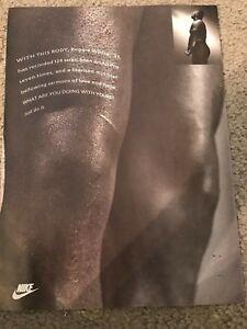 "Vintage 1993 NIKE REGGIE WHITE Poster Print Ad 1990s ""JUST DO IT"" RARE"