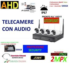 KIT VIDEOSORVEGLIANZA AUDIO WIRELESS SENZA FILI ARRAY LED VISIONE NOTTURNA 500GB