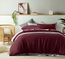 Queen Quilt Cover Doona Set 100% French Linen Merlot RRP $395