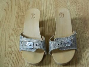 Dr Scholl's Ladies Wood Heeled Leather Sandals Gold Size 2.5 / 35