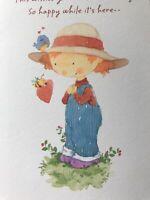Unused Vintage Valentines Day Card Hallmark W/envelope Girl Blue Bird Bumble Bee
