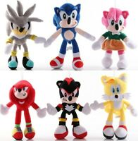 6pcs Sonic The Hedgehog Plush Toys Set Shadow Knuckles Amy Rose Tails Kids Gift