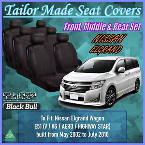 Leather Look Seat Covers (3 Row Set) for Nissan Elgrand E51: 05/2002 to 07/2010