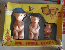 RARE Vintage 1949 Plasco Three Little Bears Rubber Squeaky Toys in Box