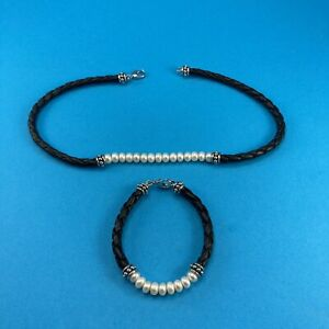 Pearl NECKLACE and BRACELET Set Braided Leather Sterling Silver