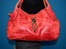 DOONEY & BOURKE Red Croco Embossed Leather Clip Lock Shoulder Slouch Bag Purse