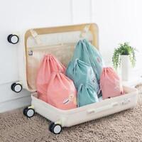 3Pcs Waterproof Laundry Shoe Travel Pouch Portable Tote Drawstring Storage Bag