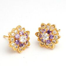 Gorgeous Purple Clear Round Cubic Zircon Gold Plated Lady Stud Earrings Jewelry