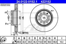 2x Bremsscheibe für Bremsanlage Vorderachse ATE 24.0122-0152.1