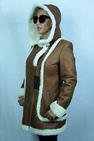 Cognac Orange 100% REAL SHEEPSKIN SHEARLING LEATHER Coat Jacket Hood, NWT XS-6XL