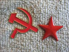 "RUSSIA HAMMER & SICKLE & ""Socialist Red Star"" Pin Set Communist,C C C P"