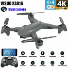 VISUO XS816 Foldable 2.4GHz RC Drone FPV WiFi Dual 4K 1080P HD Camera Quadcopter