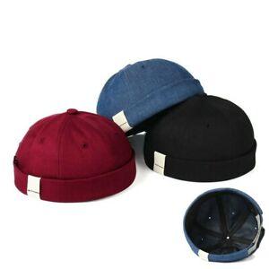 Brimless Solid Color Hip Hop Skullcap Summer Beanie Hat Unisex Cotton Sun Cap