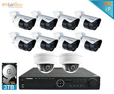 LaView 16 Channel NVR Security System W/10 HD 1080P IP POE Bullet/Dome Cameras