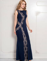 Ladies Mermaid Maxi Evening Long Navy Blue Scoop Neck Lace Dress 10 12 14 16 18