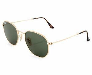 RayBan Hexagonal Sunglasses - Gold Green Classic G-15 - 3548N 001 51-21