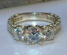 Engagement Ring 14k White Gold Fn 3Ct Excellent Round Cut Forever One Moissanite
