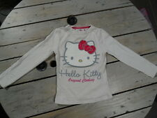 T-shirt manches longues blanc col rond imprimé Hello Kitty Taille 4 ans