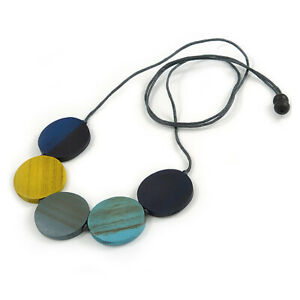 Multicoloured Coin Wood Bead Grey Cotton Cord Necklace - 94cmL Max/ Adjustable