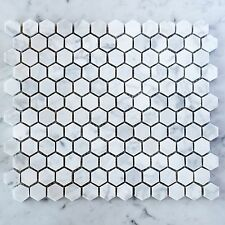 Carrara Marble Hexagon 25mm Mosaic Tiles (Sheet)