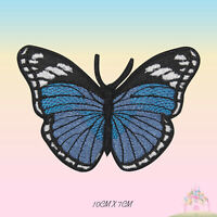 Butterfly Blue Embroidered Iron On Patch Butterfly Sew On Badge Applique