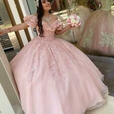 Pink Quinceanera Dresses Ball Gown Beaded Lace Sweet 15 Year Brithday Party Gown
