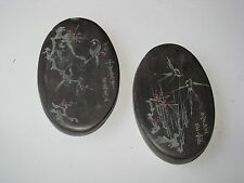 2x Set Vtg Old Oval Make Up Powder Compact Box Sm Carved Stone Oriental Chinese