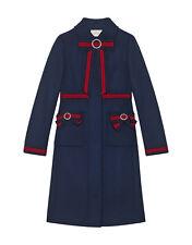 NWT $3.7K Gucci Embellished Grosgrain-Trimmed Wool Coat, IT 40