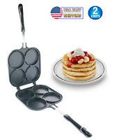 Perfect Double Sided Pancake Maker Pan 4 Round Molds Eggs Crepe Pancake Flip Pan