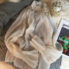 Lady Ruffle Puff Sleeve Shirts Chiffon Tops Blouse Lolita T-shirts Frill Soft
