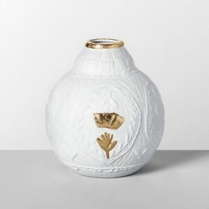 "7"" x 6.5"" Decorative Stoneware Vase White/Gold - Opalhouse™, New"