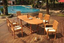 """7-Piece Outdoor Teak Dining Set: 94"""" Masc Oval Table, 6 Stacking Arm Chairs Lua"""