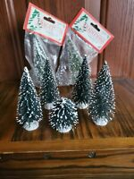 LEMAX Snow Covered Evergreen Bottle Brush Trees LOT Christmas Village Diorama